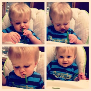 Beckett eating greenbeans