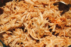 3 Shredded chicken and taco sauce