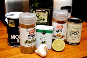 Black bean hummus ingredients