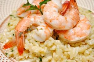 Shrimp Scampi over Creamy Parmesan Orzo
