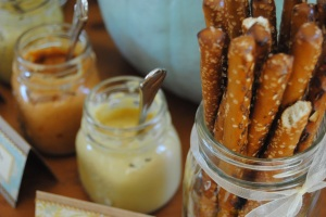 Pretzel rods and mustard dips