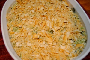 Broccoli and blue cheese casserole topped with crackers