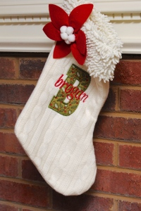 Appliqued and Embroidered Stocking - Brogan