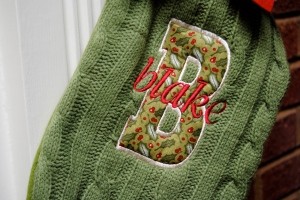 Appliqued and Embroidered Stocking - Blake