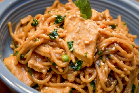 Simple Asian Peanut Noodles with Chicken
